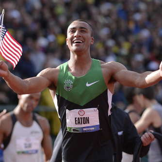 Ashton Eaton testet in Marburg