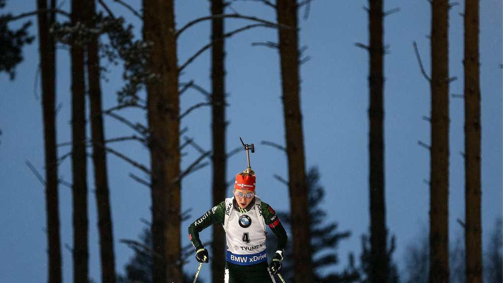 TYUMEN RUSSIA MARCH 23 2018 Biathlete Karolin Horchler of Germany competes in the women s 7 5km