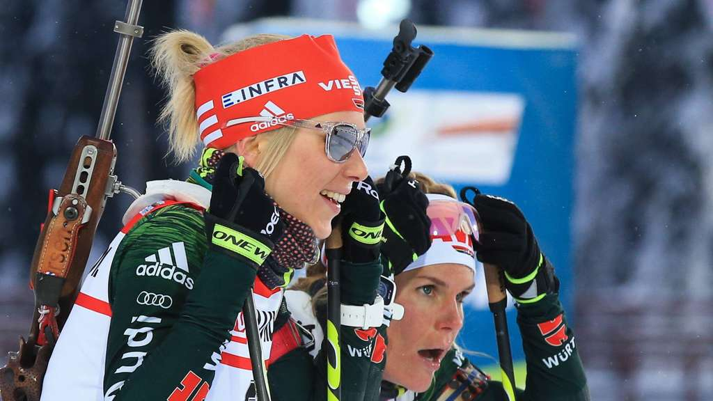 KHANTY-MANSIYSK, RUSSIA – MARCH 14, 2018: Biathletes Karolin Horchler (L) and Nadine Horchler of Germany competes in the women s super sprint at the 2017/18 Season IBU Biathlon Cup meet in Khanty-Mansiysk. Stanislav Krasilnikov/TASS PUBLICATIONxINxGERxAUTxONLY TS077A7A