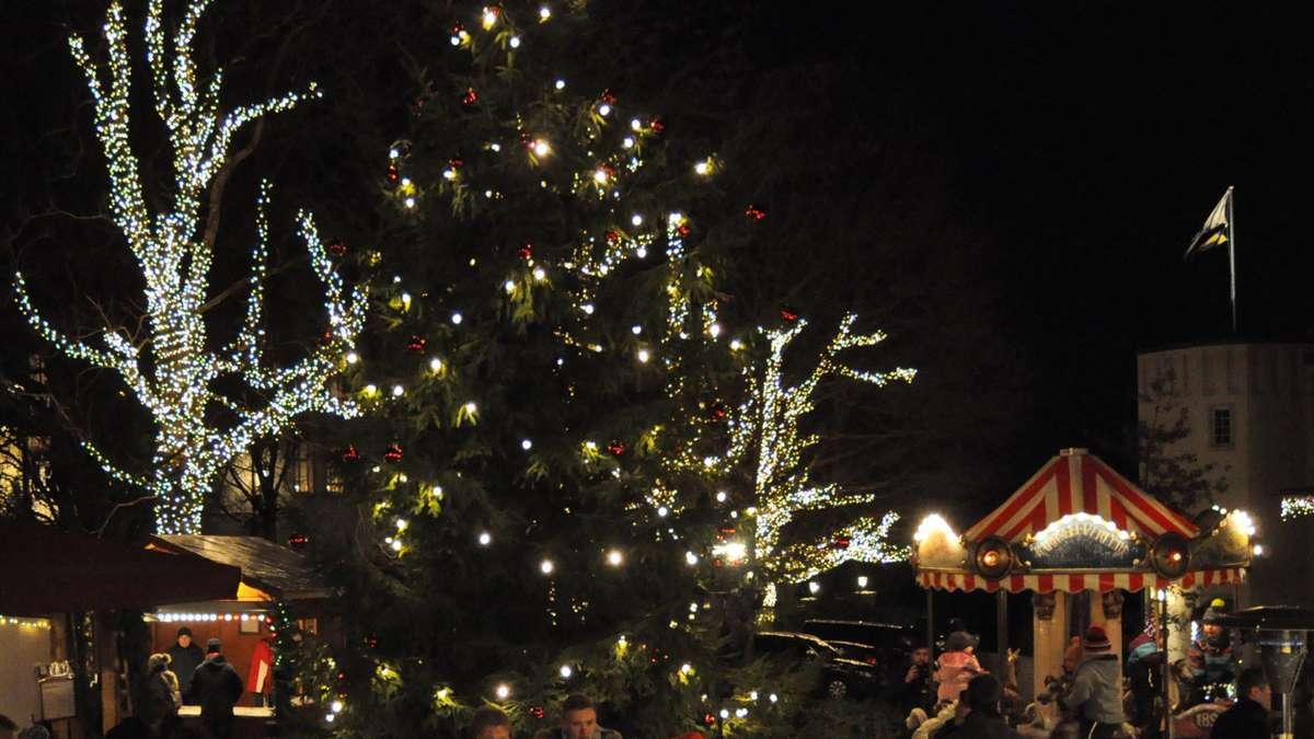 Landau Weihnachtsmarkt.Marchenkoch Beim Weihnachtszauber Auf Schloss Landau Bad